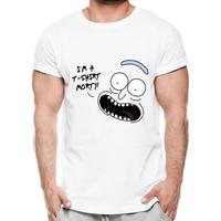 Смешной счастливый Рик Morty и помогайки Футболка с принтом Для Мужчин Мультфильм emoji customied Футболка Высокое качество мужской Hipster футболки