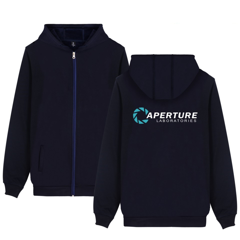 Two Step Aperture Science Games Hoodies With Zipper Mens Casual Clothing Print Aperture Laboratories Hooded Sweatshirts