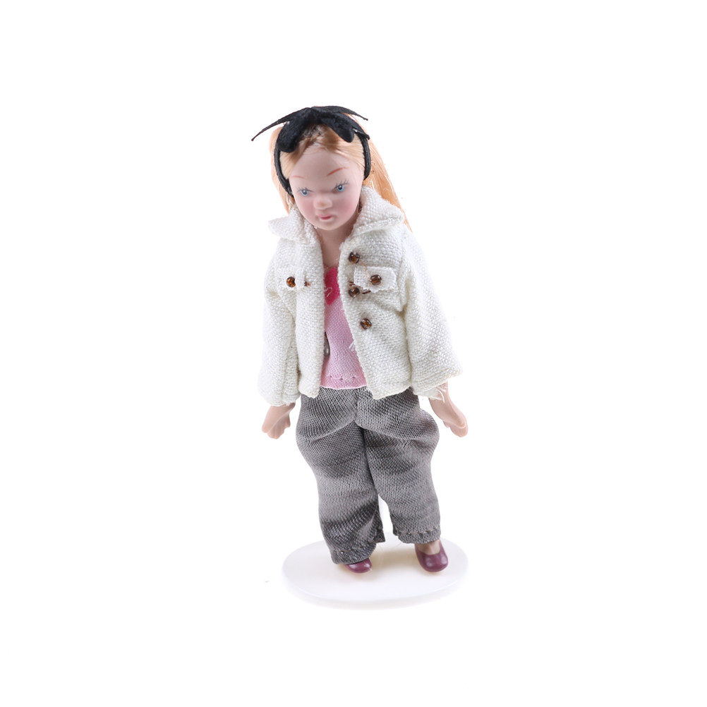 CASUAL PORCELAIN WOMAN  IN JEANS MINIATURE DOLL