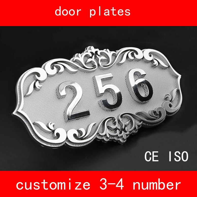 CE ISO número de casa estilo retro Brone como puerta número 3 a 4 números Placa de puerta personalizada apartamento Hotel