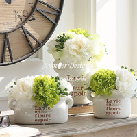 European Style Wedding Party Decor Artificial Flowers Ceramic Flower Pots Vintage Rural Desktop Decor Flower With