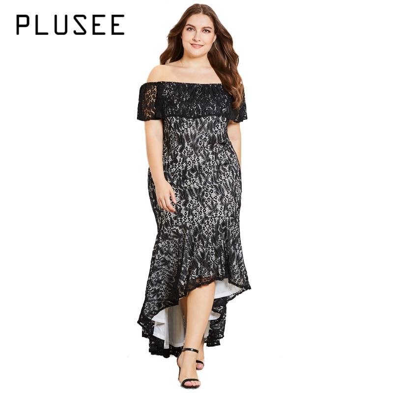 PLUSEE Vintage Women Lace Slash Neck Asymmetrical Dress