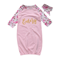 Baby Girl Floral Sleeping Bag Long Sleeve Cotton Sleeping Wear With Headband Autumn Clothes For 0-24M