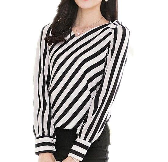 fashion women black&white stripe shirt 2016 spring women ...