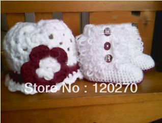 drop shipping crochet baby girls snow boots knitted flower hat