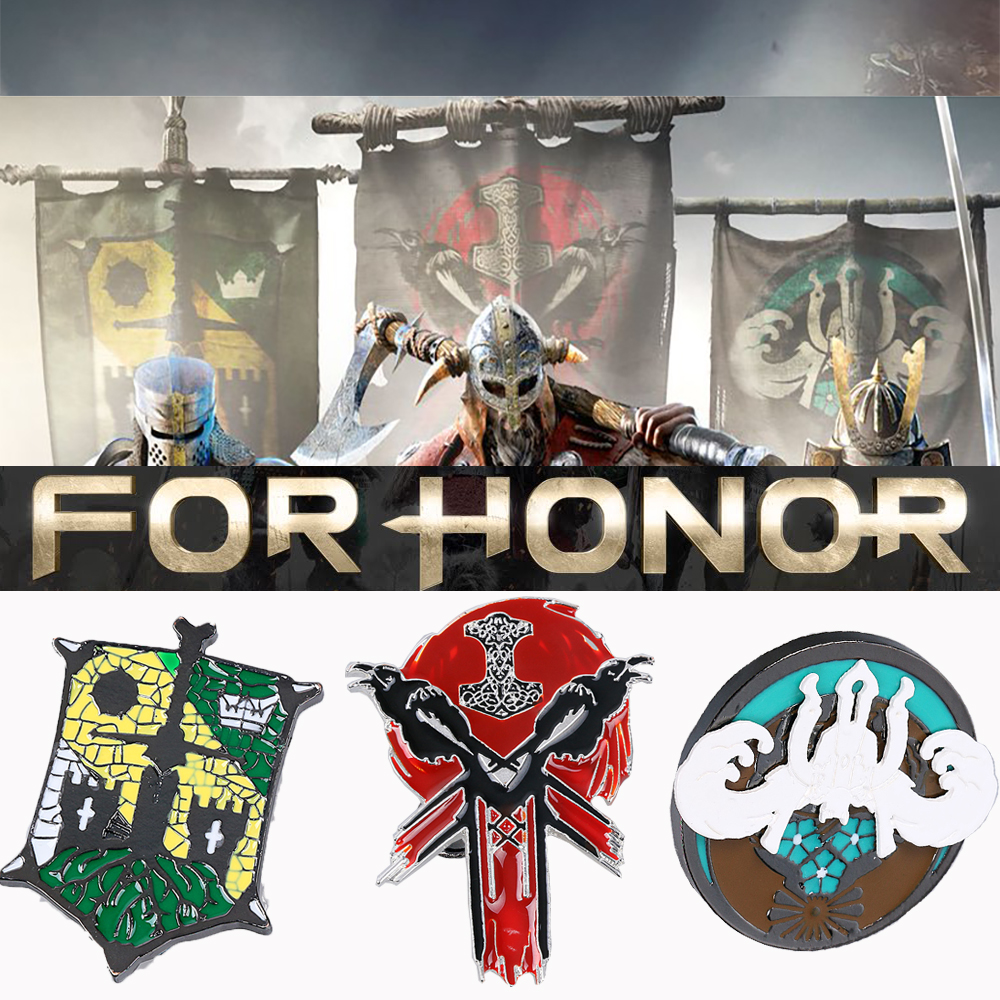 Badges For Honor 3 Pins Knight Viking Warrior camp Brooch Metal Alloy Zinc Cosplay For Halloween Prop