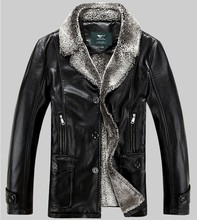 Free shipping Men's wear brand new leather, High-grade sheep skin, Genuine Leather jacket, men winter fur coat ,M-5XL