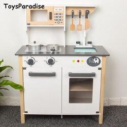 Dropshipping Simulatie Europese Keuken Houten Speelgoed Voor Kinderen Nordic Stijl Keuken Speelgoed Set Montessori Educatief Gift