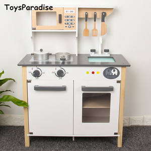 Wooden-Toys Kitchen Kids Toys-Set Simulation Montessori European for Nordic-Style Gift
