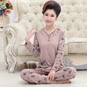 fb57a6821 Nuevo algodón de otoño invierno de las mujeres conjuntos de pijamas camisón  femenino de dibujos animados Pijama mujer otoño Homewear primavera ropa de  ...