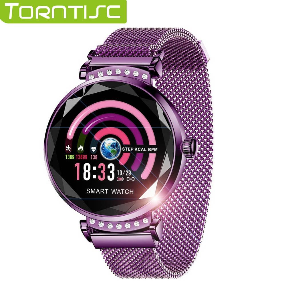 Torntisc 1.04 Cal IPS kobiety smart watch dla Android IOS telefon tętna Monitor ciśnienia krwi wiadomość Push Smartwatch kobiety w Inteligentne zegarki od Elektronika użytkowa na  Grupa 1