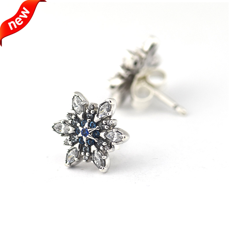 Compatible With Pandora Jewelry Crystalized Snowflake Stud Earrings Blue Crystals 100 925 Sterling Silver Free Shipping In From
