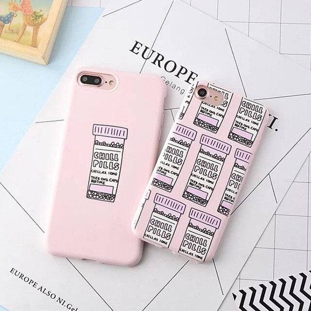 Para el iphone 7 Caso de Color Rosa Caramelo Botellas Calmante Suave Espalda cubierta Para el iphone 7 Más Caso de la Historieta Para el iphone 6 S Caso de Silicona