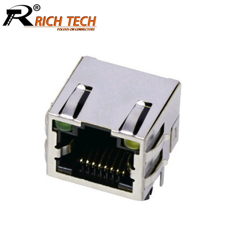 10pcs/lot 8P8C Single Port RJ45 Connector W/ LED Light W
