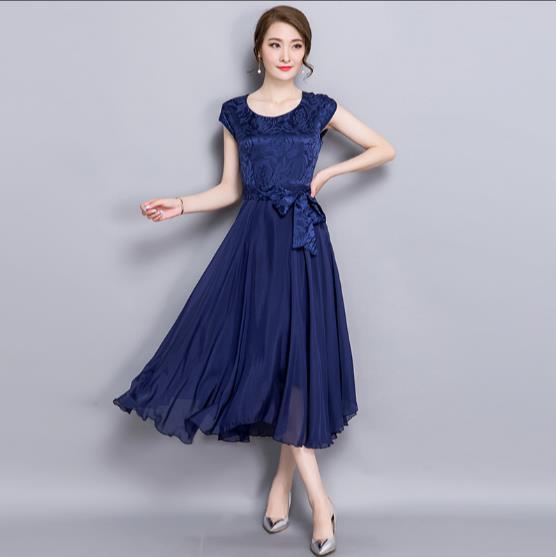 Summer Dress Female 2018 Elegant Chiffon Silk Party Dresses for women Red  Robe Femme Plus Size Womens Vestidos Mujer JR118 2f3754083a39