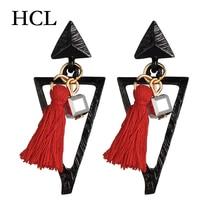 HOCOLE European Special geometry Earrings New Fashion Club Jewelry Acrylic Leopard Geometric Triangle Big Female Women