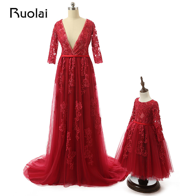 Sexy 2019 V-Neck A-Line Red Tulle Appliques Beaded   Evening     Dresses   Long Sleeves Mother Daughter   Dress   Formal Prom ASAFE5