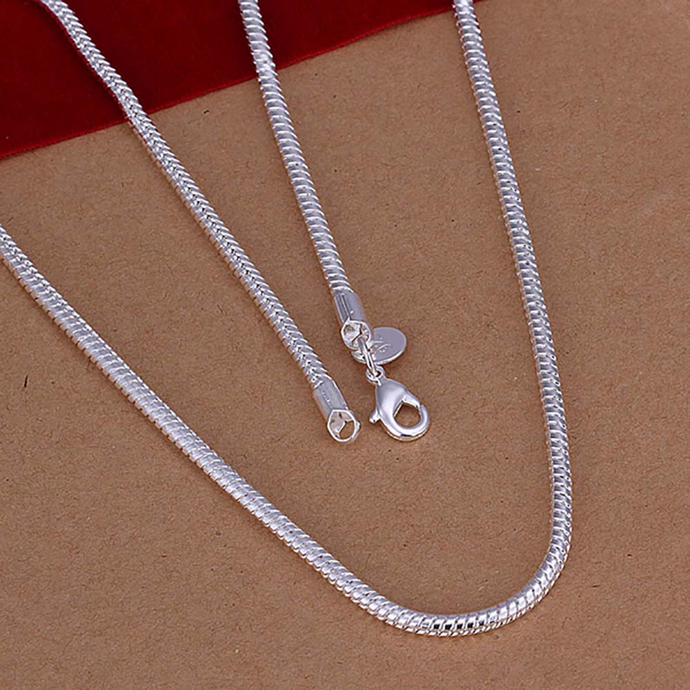 Wholesale Jewelry Silver Plated Snake Chain Necklace 3mm 16-24 Inch Statement Women&Men Jewelry Chokers Fashion Accessories