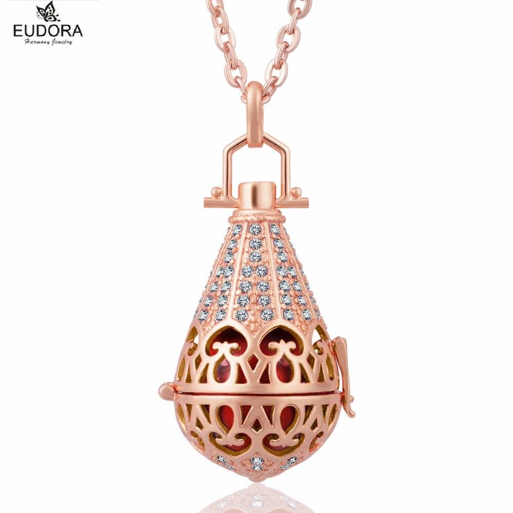 Gota de agua Color oro rosa 16mm cristales Harmony Bola colgante apto Ángel llamador sonido de timbre mujeres embarazadas joyería regalo