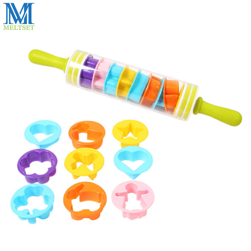 Detachable Animal Embossing Rolling Pin Fondant Roller Cake Decorating Tools Food Safe Plastic Baking Set Toy