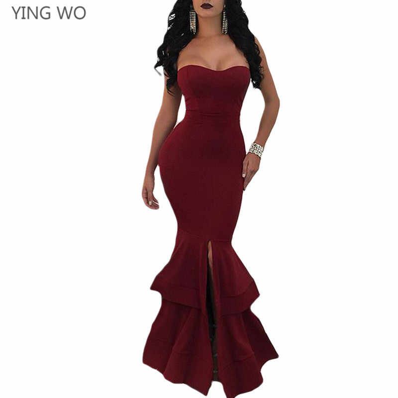 91f5e467c9bb03 Detail Feedback Questions about Wine Black Green Off Shoulder Strapless Mermaid  Dress Sexy Woman Night Party Wear Front Slit Out Ruffles Maxi Dresses  Online ...