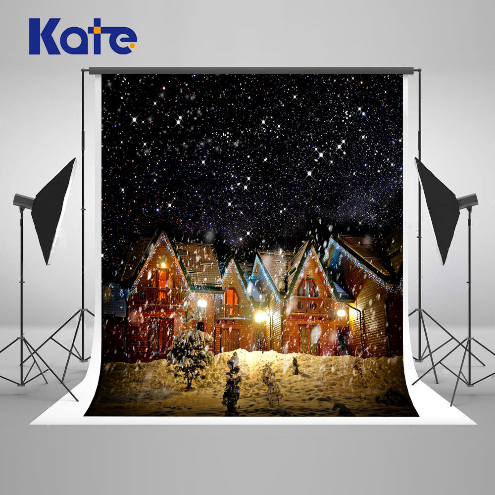 Kate Winter Snow Photography Backdrops 10ft Trees Night House Custom Backdrop Printing Light Snowflake Photo Background-J05396 kate 10ft photo background naturism children photos flores wedding backdrops oil painting garden backdrop kids blue sea backdrop