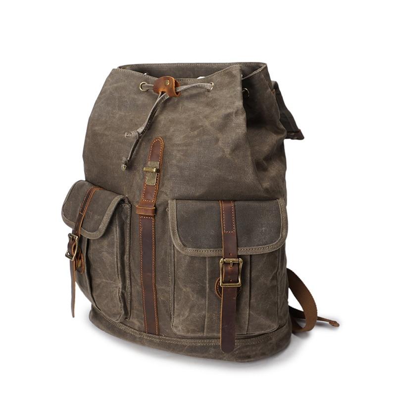 Image 3 - Retro Backpack Men Waterproof Oil Wax Canvas Drawstring School  Rucksack Shoulder Vintage Travel Bagpack College Laptop Bag  BeltsBackpacks