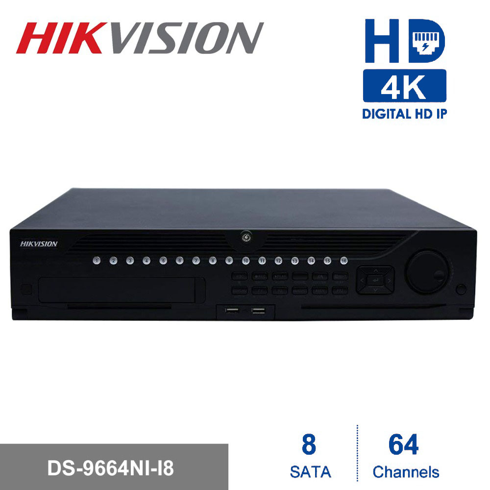 In Stock Hikvision Professional 64 Channel CCTV System DS 9664NI I8 Embedded 4K NVR Up to 12 Megapixels Resolution 8 SATA 2 HDMI