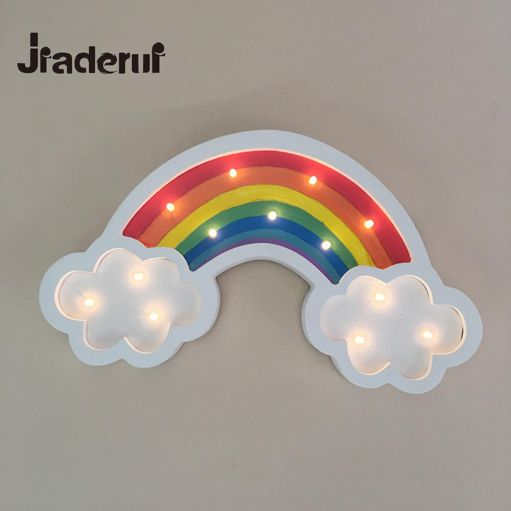 Jiaderui Wooden LED Rainbow Night Light Home Decoration 3D Lamp Kids Christmas Gift Baby Room Decor Wall Lamp Battery Powered