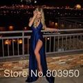 Azul Royal Longo Vestido de Noite Sexy Leg Slit Bainha Robe soirée Bleu Couleur 2017 Nova Moda Vestido De Festa À Noite vestidos
