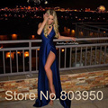 Royal Blue Long Evening Dress Sexy Leg Slit Sheath Robe Soiree Couleur Bleu 2017 New Fashion Vestido De Festa Evening Gowns