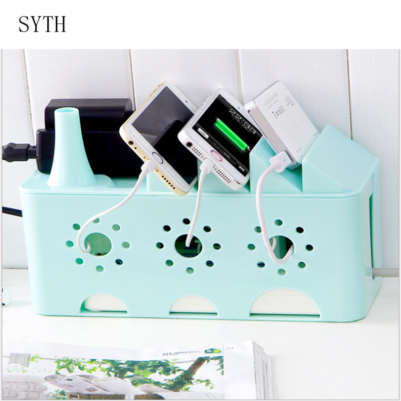 SYTH creative power cord storage box router storage box telephone rack box plastic material living room special.