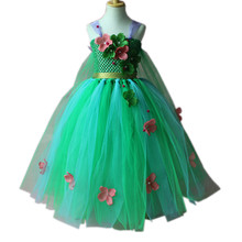 Childrens TUTU Dress Inspired  Flower Long Green Tulle Mesh Princess For Girls Birthday Halloween Clothes