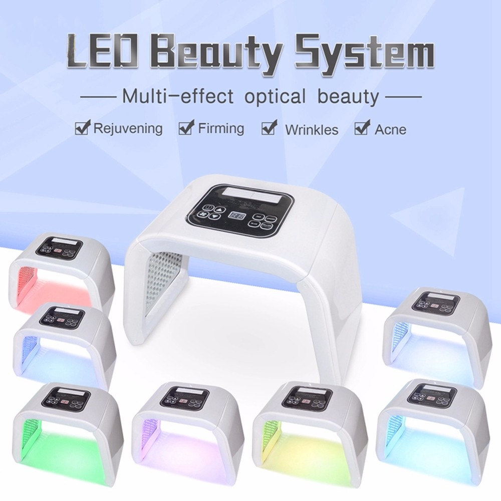 Professionnel 7 couleurs PDT masque LED thérapie par la lumière du visage appareil de rajeunissement de la peau Spa Anti-acné traitement Anti-rides - 2