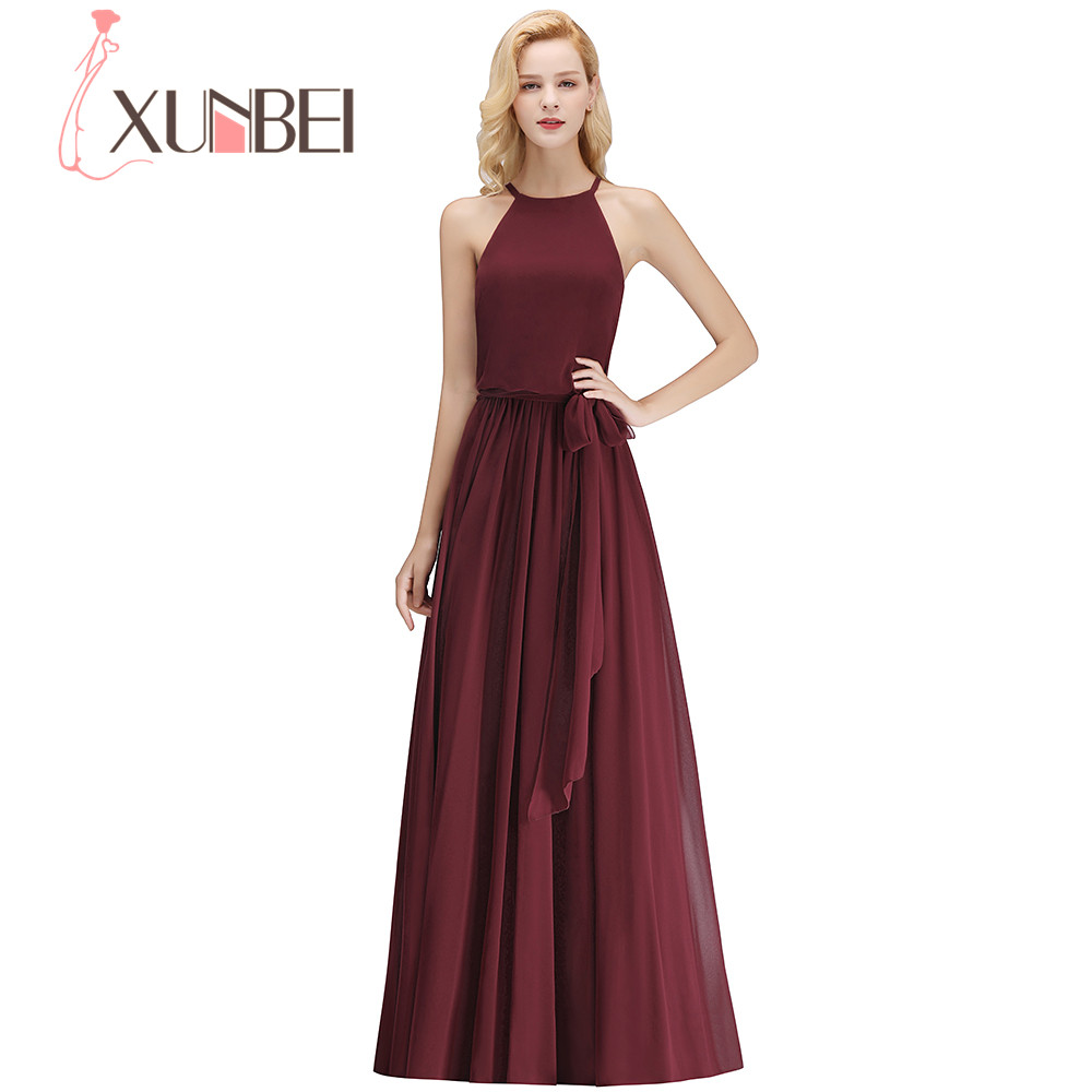 Xunbei A Line Sleeveless Floor Length Long   Bridesmaid     Dress   Solid Color Zipper Back Elegant Wedding Party   Dress   Chiffon Gowns