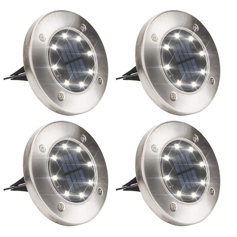 Solar Powered Disk Lights 8/12 LED Solar Pathway Lights Outdoor Waterproof Garden Landscape Lighting For Yard Deck Lawn Patio