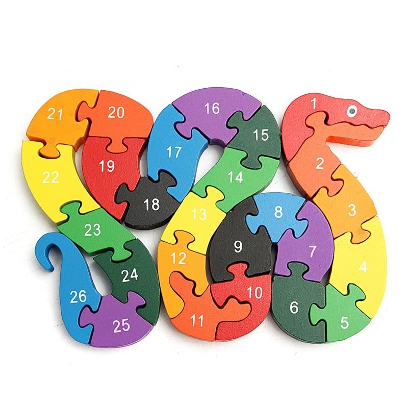 Baby Kids Children Wooden Toys Alphabet Number Building Jigsaw Puzzle Snake Shape Funny Digital Puzlzle Game Educational Toys