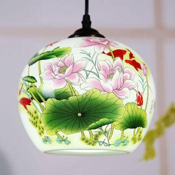 Ceramic glass lamp bedroom study room dining wedding decoration single Chinese entrance pendant light ZH ZS16