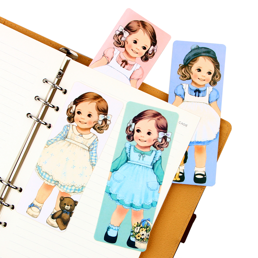 Cute Cartoon Dolls Girl With Curly Hair Paper Bookmark Vintage Book Mark Stationery Gift Office School Supplies