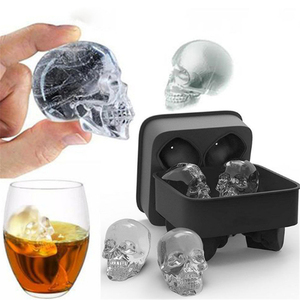 (Best Sellers) 3D Skull Silicone Mold DIY Ice Maker Mold Tray(China)