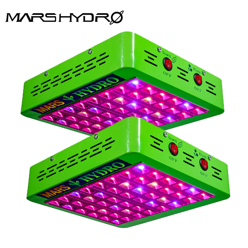 2pcs Mars Hydro LED Grow Light Reflector 300W Full Spectrum Switches+Reflector Design With IR Indoor Plants Panel