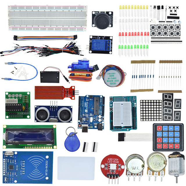 Starter Kit for Arduino Uno R3 - Uno R3 Breadboard and holder Step Motor / Servo /1602 LCD / jumper Wire/ UNO R3 2