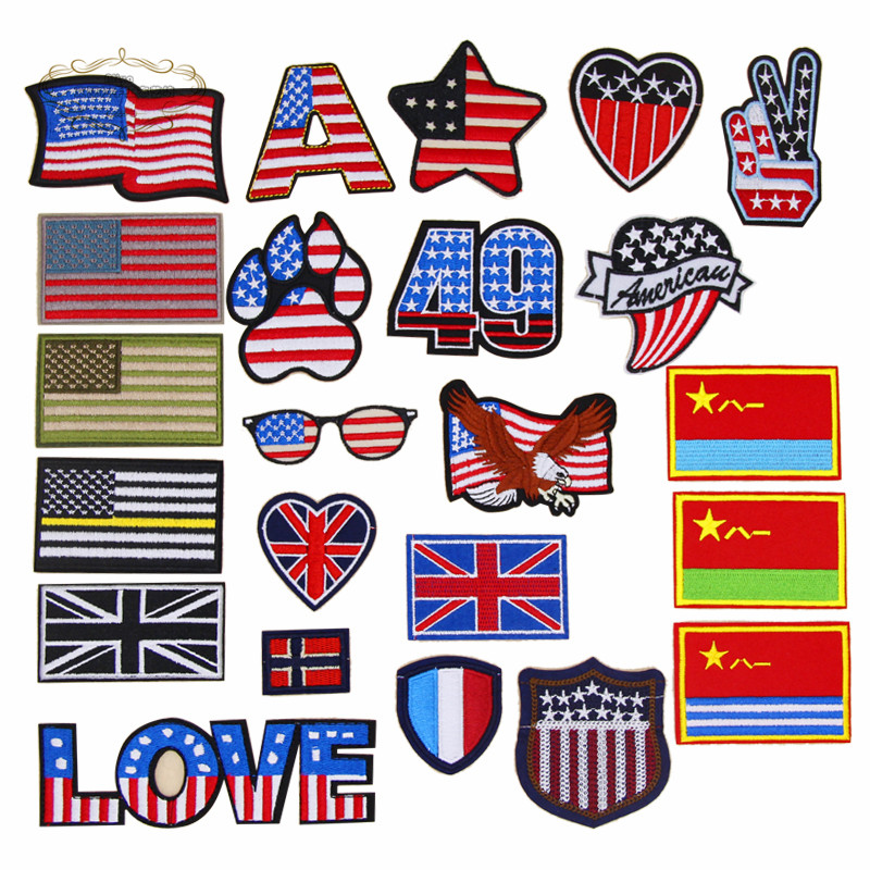 Star the Flag Embroidered Sew Iron On Patches Badge Fabric Bag clothes Applique