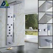 ثرموستاتي هطول الأمطار دش الاستحمام صنبور نظام تدليك الجسم الفولاذ المقاوم للصدأ عمود دوُش استحمام الحنفية الرقمية درجة الحرارة الشاشة