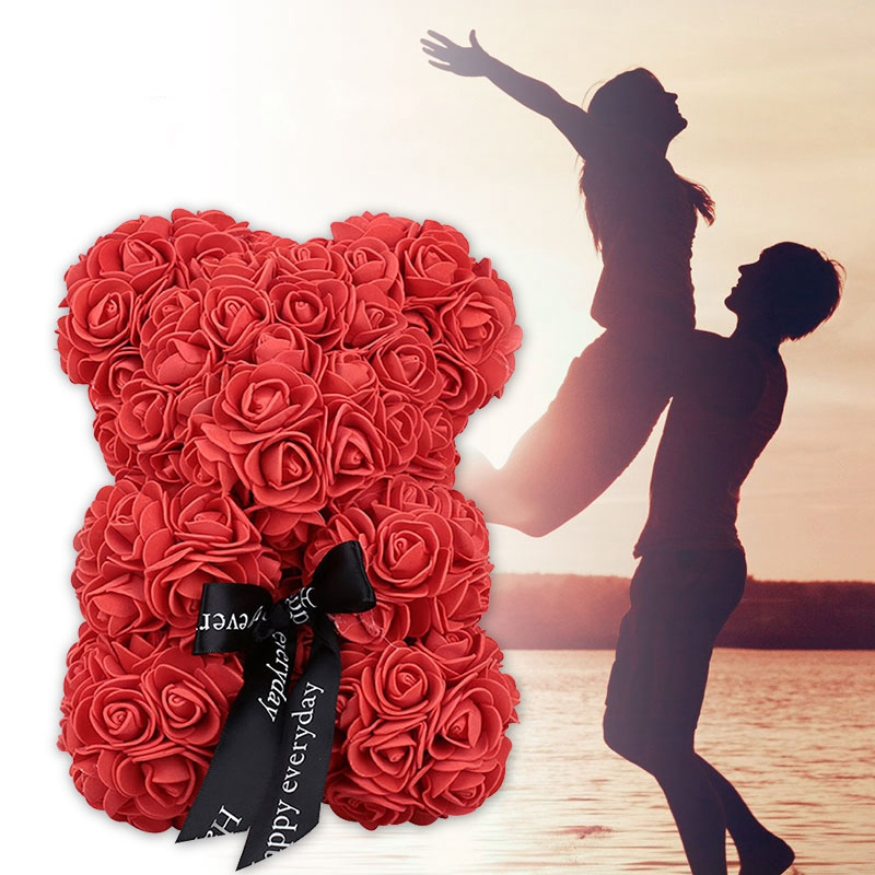 New-23Cm-Foam-Bear-Of-Roses-Bear-Rose-Flower-Artificial-2019-New-Year-Gifts-For-Women (2)