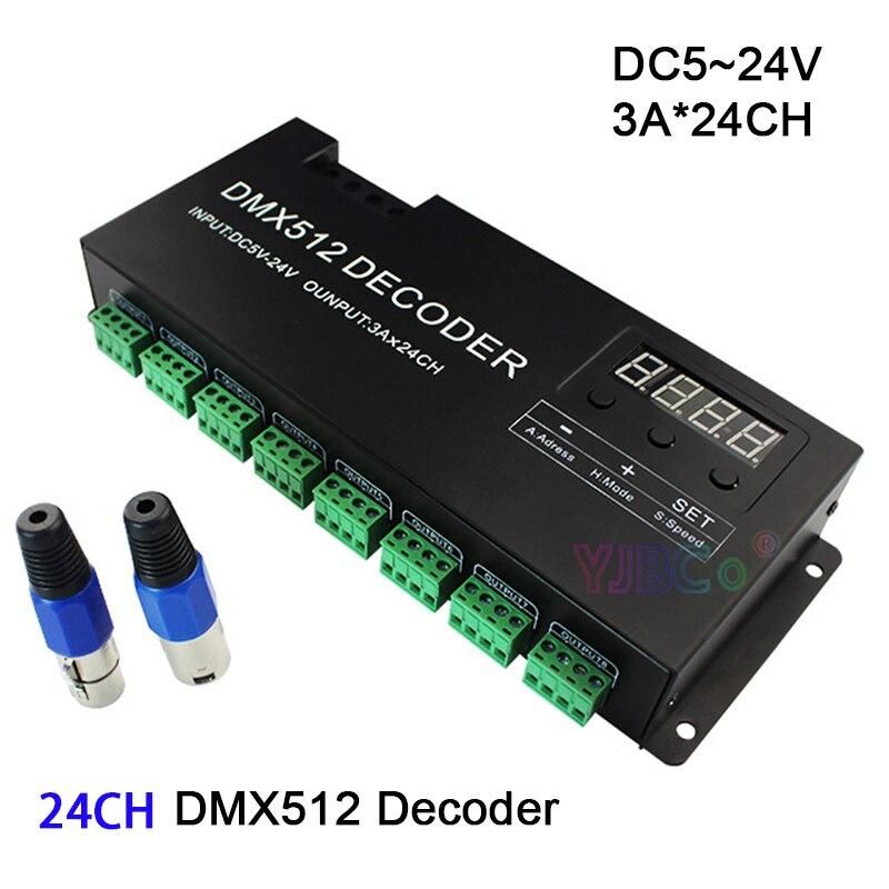 DC5V 12 V 24 V 24 canaux DMX512 décodeur 3A * 24CH couleur unique rvb led contrôleur d'éclairage d'étape de bande PWM DMX512/1990 signal