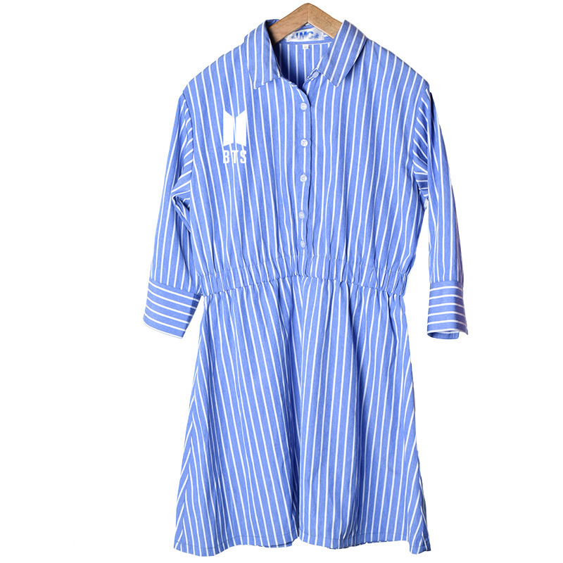 BTS Bangtan Boys combination Personalized print shirt blue and white stripes Dress OL 2018 summer sweet wild