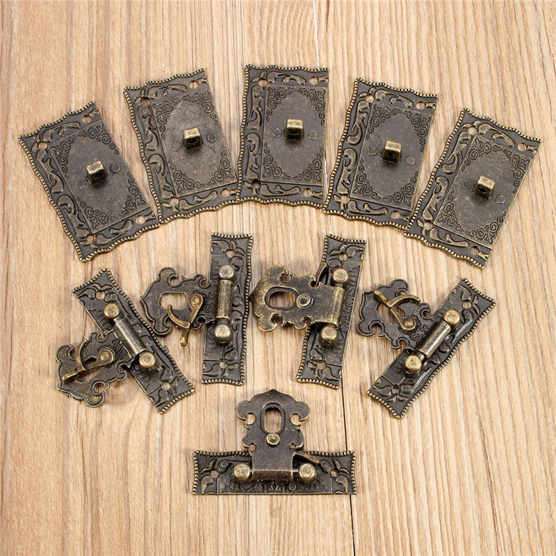 AEQUEEN 5.1x2.9cm Bronze Lock Box Replacement Buckles Tone DIY Bag Twist Lock Clasp Turn Lock Closure Hasp with Screws 5pcs/Sets