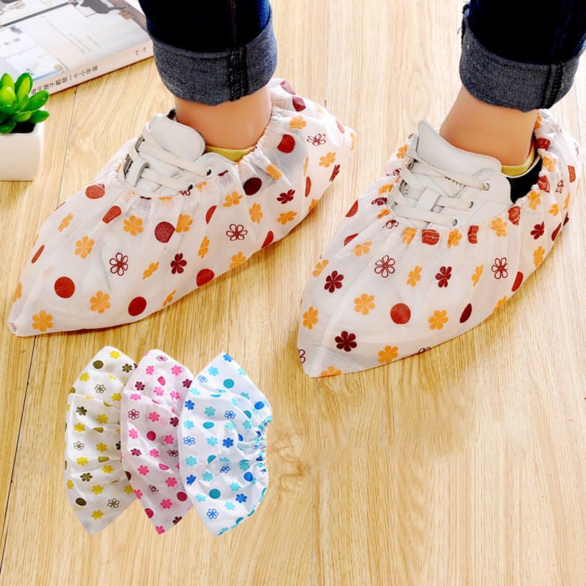 Breathable Printed Non-woven Shoe Cover Thickened Household Indoor Antiskid Shoe & Boots Cover Resuable Floor Protection Cover