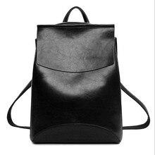 2016 Nouveau Design Vintage sac à dos Femmes Pu cuir Femme Sac À Dos de Haute Qualité noir Mochilas Mujer Sacs D'école Pour Les Adolescents